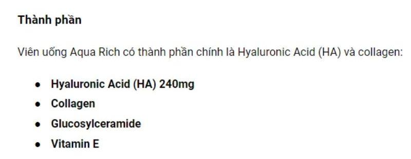 Viên uống Aqua Rich có thành phần chính là Hyaluronic Acid (HA) và collagen
