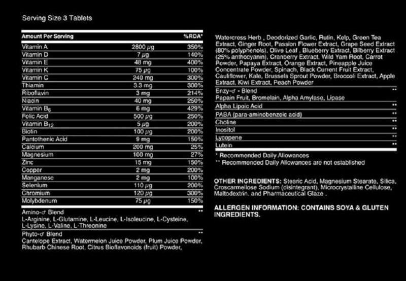 Thành phần sản phẩm với hơn 75 loại vitamin, khoáng chất khác nhau