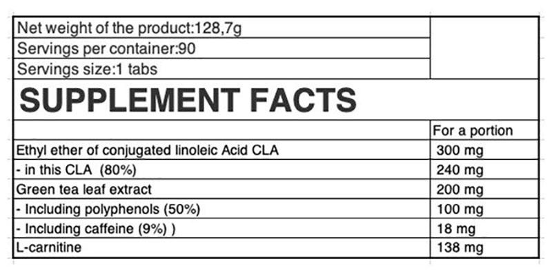 Thành phần của Ostrovit CLA + Green Tea + L-Carnitine