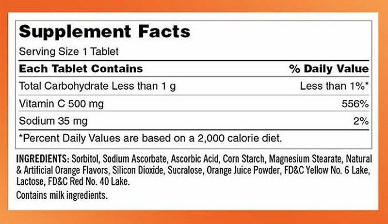 Sản phẩm với thành phần chính là vitamin C