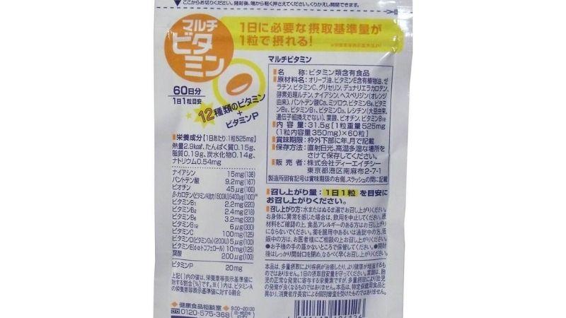 Bảng thành phần của viên uống bổ sung vitamin