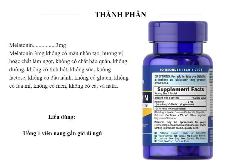 Thành phần chính của sản phẩm này là Melatonin