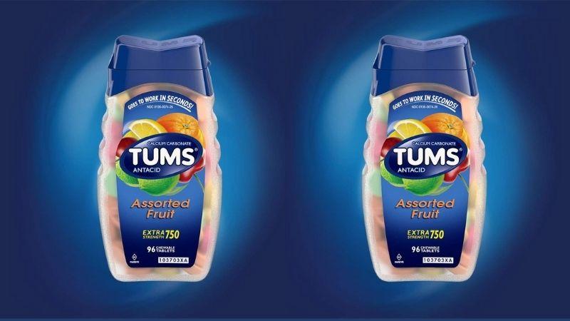 Viên ngậm Tums Antacid giúp giảm các chứng khó tiêu, đầy hơi, chướng bụng