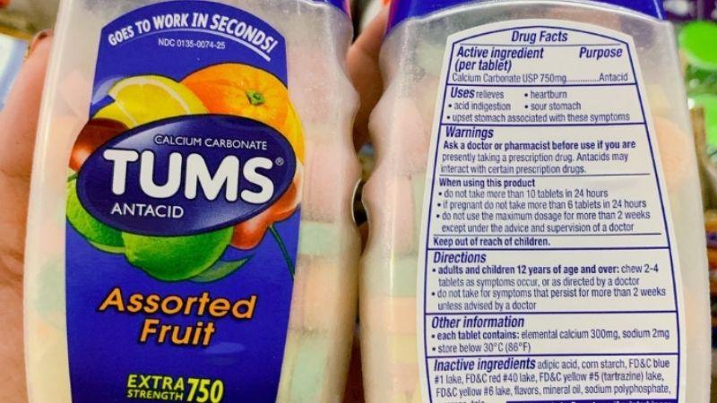 Thành phần trong kẹo ngậm Tums Antacid