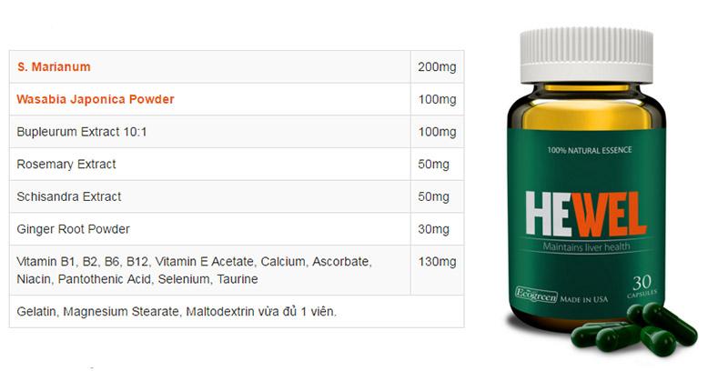 Thành phần giàu dưỡng chất có trong bảng thành phần của Hewel