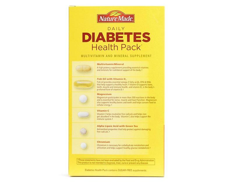 Sản phẩm Diabetes Health Pack của Mỹ sở hữu nhiều thành phần dinh dưỡng ấn tượng