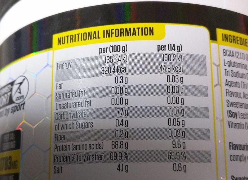 Bảng trọng lượng các thành phần có trong sữa BCAA Amino Hydrate
