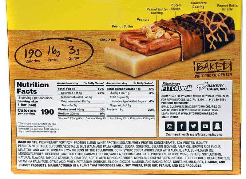 Bảng thành phần của bánh socola bơ đậu phộng Fit Crunch