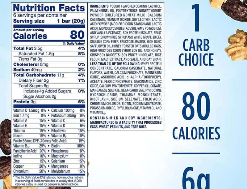 Trong mỗi thanh bánh đều chứa 80 calories, 3gr protein, 19 loại vitamin và khoáng chất