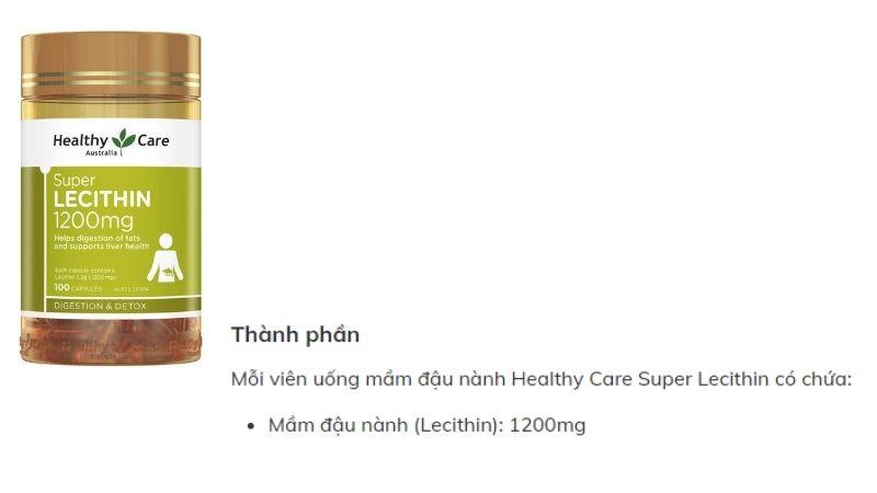 Thành phần của Healthy Care Super Lecithin