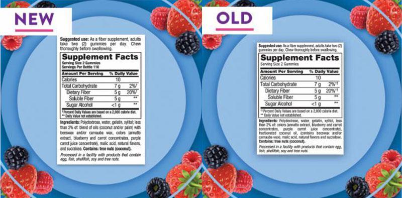 Bảng thành phần kẹo dẻo bổ sung chất xơ Vitafusion Fiber loại mới và cũ