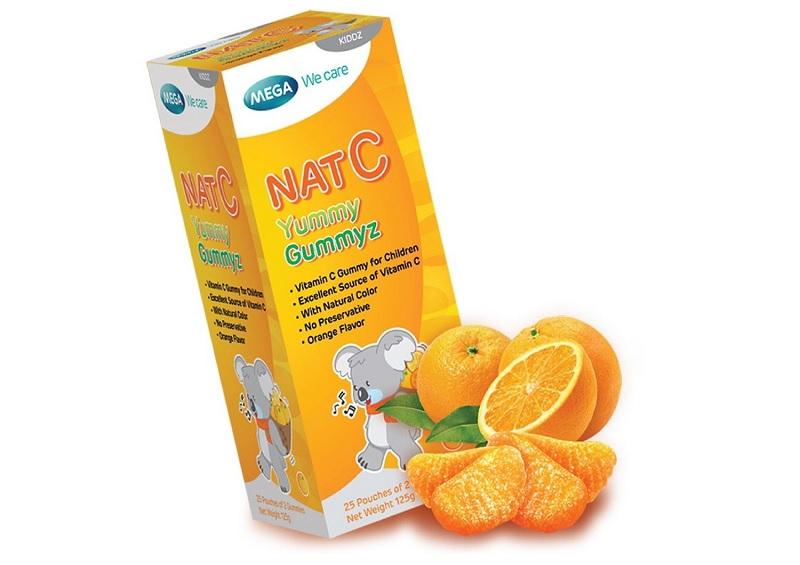 Kẹo dẻo Nat C là kẹo dẻo bổ sung vitamin C cho trẻ của Thái Lan
