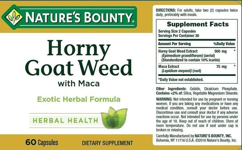 Bảng thành phần các dưỡng chất có trong viên uống Horny Goat Weed