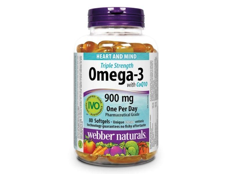 Dầu cá Omega 3 Webber Naturals Triple Strength 900mg CoQ10 80 viên