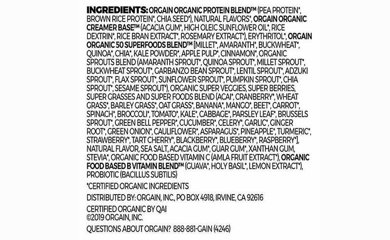Thành phần của Orgain Organic Protein & Superfoods
