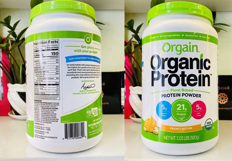 Bảng thành phần dưỡng chất có trong bột hữu cơ Organic Protein Powder