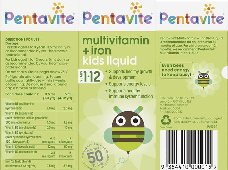 Bảng thành phần của vitamin tổng hợp cho bé 1-12 tuổi Pentavite 200ml