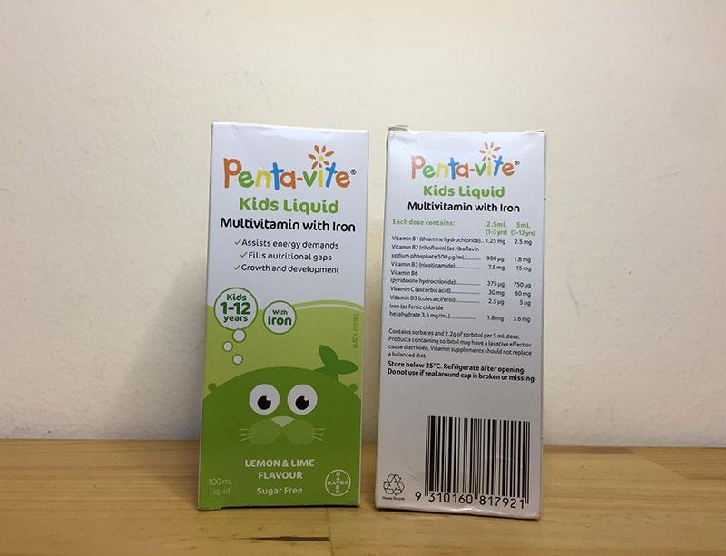 Bảng thành phần của Pentavite Vitamin 100ml
