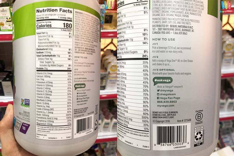 Bảng thành phần của bột Protein Vega hoàn toàn từ hữu cơ