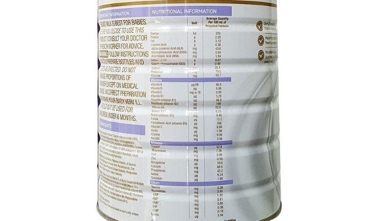 Thành phần của sữa Blackmores số 2 cho bé 6 - 12 tháng tuổi