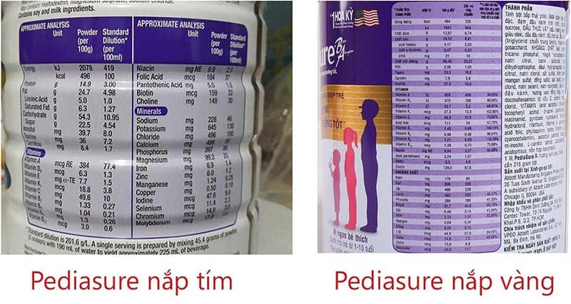 Bảng thành phần sữa Pediasure cho trẻ 1 tuổi