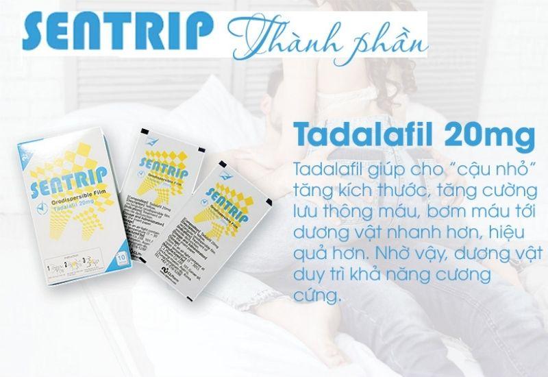 Thành phần của sản phẩm có hoạt chất chính là Tadalafil 20mg