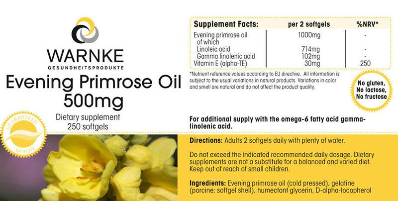 Bảng thành phần các chất trong một viên tinh dầu hoa anh thảo Warnke