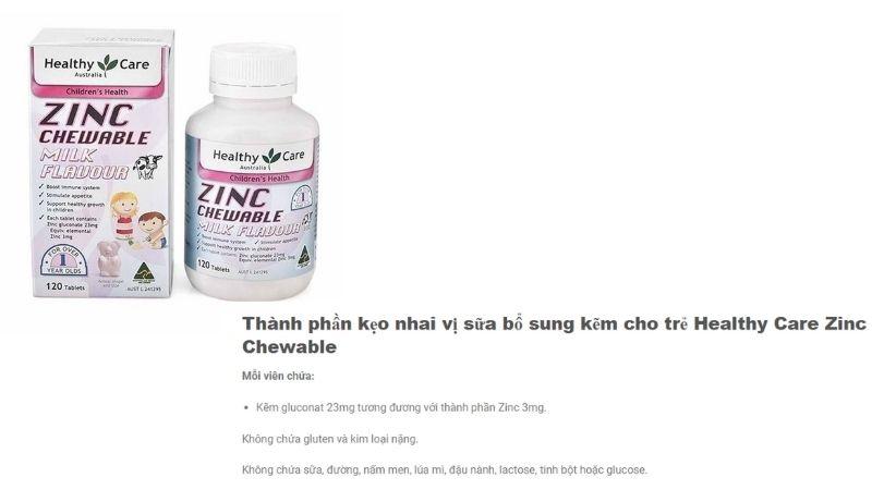 Thành phần của Healthy Care Zinc