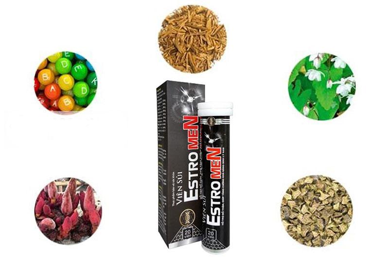 Bảng thành phần của viên sủi hỗ trợ sinh lý Estro Men gồm các dược liệu tự nhiên