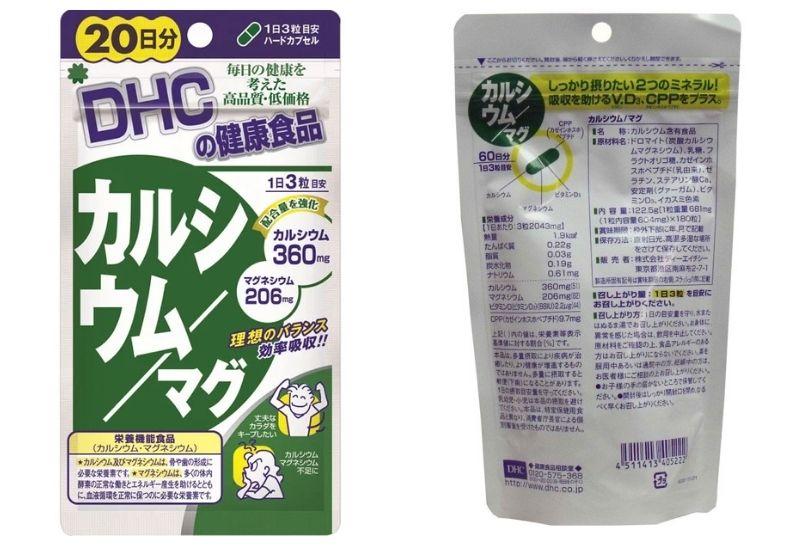 Bảng thành phần của viên uống DHC bổ sung Canxi