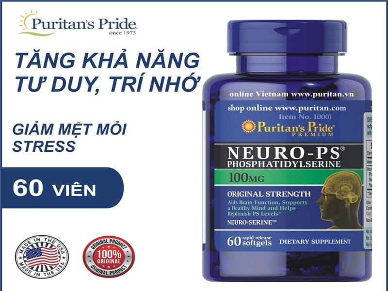 Viên uống bổ trí não, tăng cường trí nhớ Puritan'S Pride Neuro-Ps Phosphatidylserine 60 viên