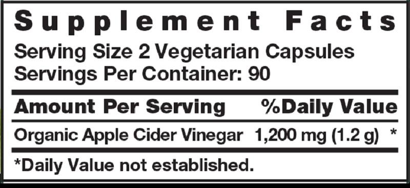 Bảng thành phần của sản phẩm với thành phần chính là chiết xuất từ giấm táo