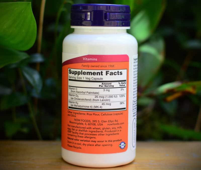 Bảng thành phần sản phẩm NOW Foods Vitamin D3 1000 IU 120 viên