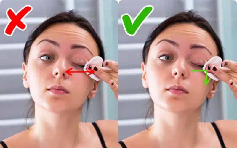 Lưu ý tẩy trang đúng cách để tránh làm tổn thương da mắt