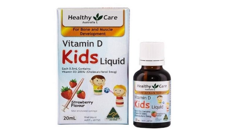 Vitamin D Healthy Care có hương vị dâu thơm ngon, dễ uống
