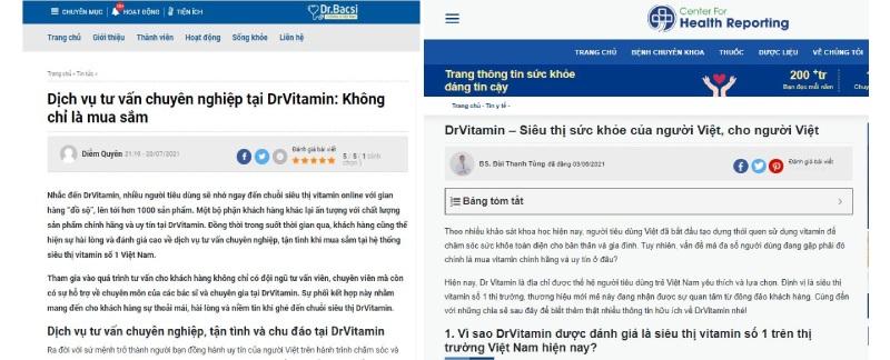 Dịch vụ hỗ trợ tại Dr Vitamin được báo chí đánh giá cao