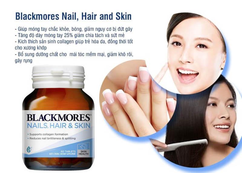 Blackmores Nail Hair Skin là viên uống giúp làm đẹp da, tóc và móng