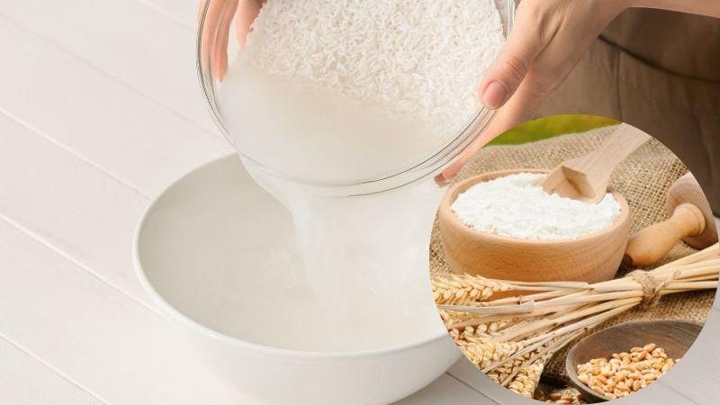 Làm đẹp da mặt bằng nước vo gạo và bột mì