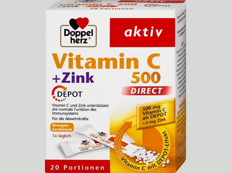 Vitamin C 500 DIRECT + Zink DEPOT hãng Doppelherz