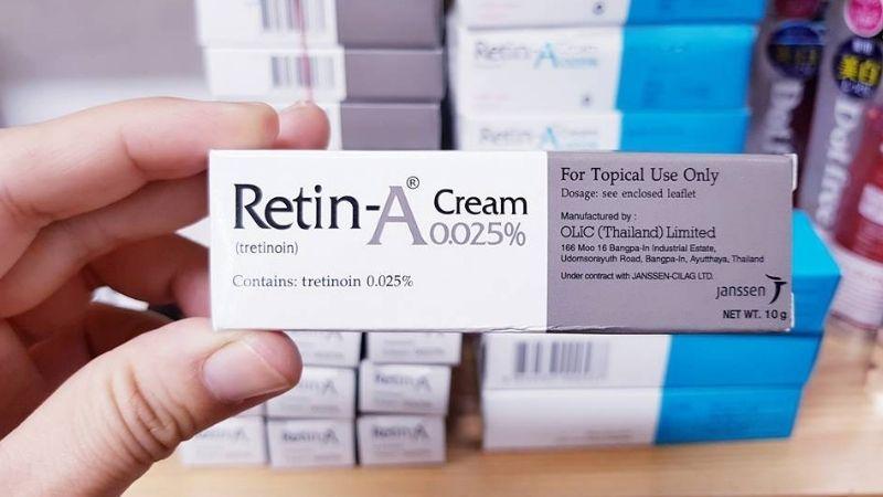 Retin-A chứa các thành phần nổi bật giúp giảm mụn nhanh chóng