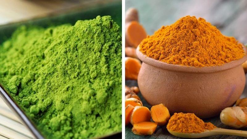 Tham khảo cách dùng bột trà xanh và tinh bột nghệ