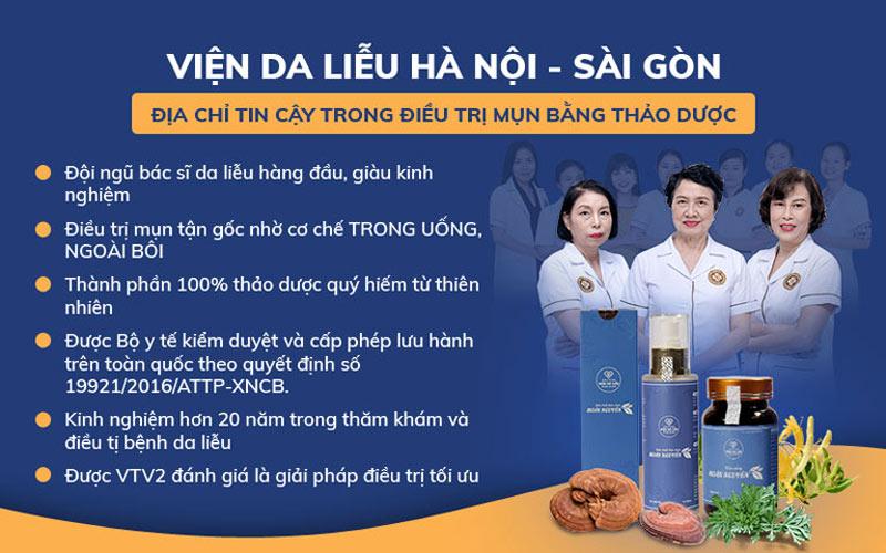 Viện Da liễu Hà Nội - Sài Gòn - Địa chỉ áp dụng thành công giải pháp loại bỏ mụn thảo dược Đông y kết hợp với khoa học hiện đại