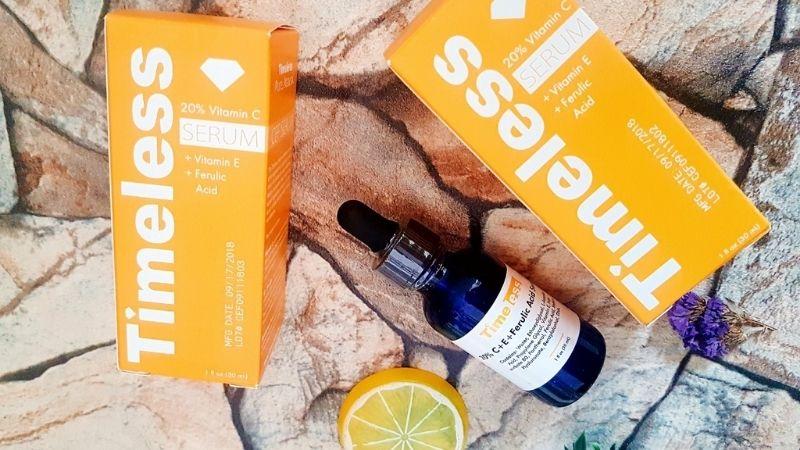 Timeless 20% Vitamin C + E Ferulic Acid là serum vitamin C trị thâm được sử dụng phổ biến