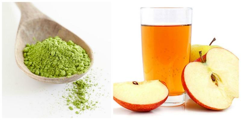 Sử dụng bột trà xanh với giấm táo trị mụn