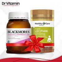 Combo nội tiết tố, tăng vòng 1 Tinh dầu hoa anh thảo Blackmores + Mầm đậu nành Healthy Care Super Lecithin