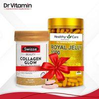 Combo Sữa ong chúa Healthy Care Royal Jelly và Swisse Collagen Beauty Glow ngăn ngừa nám – chống lão hóa