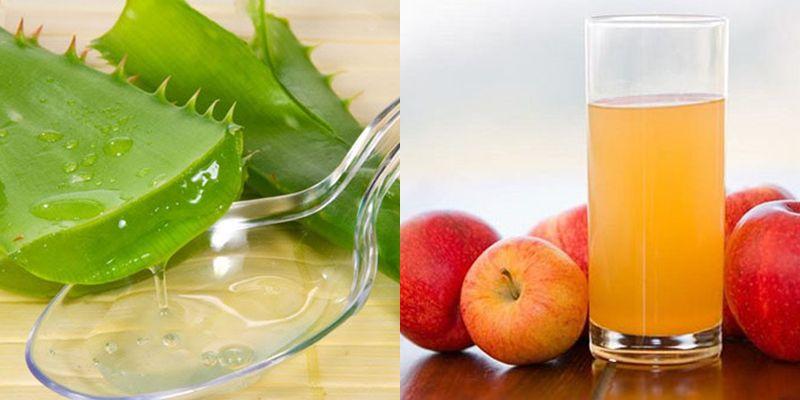 Làm trắng da bằng nha đam và nước ép táo
