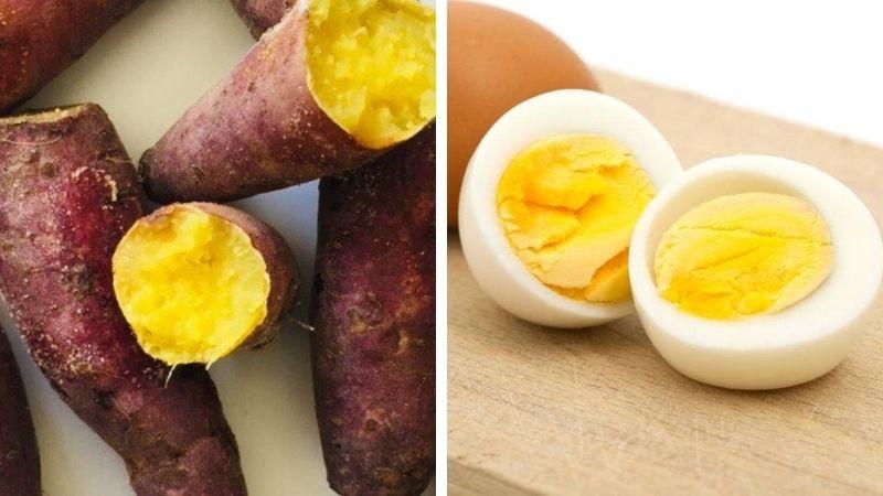 Ăn khoai lang kèm với trứng gà luộc