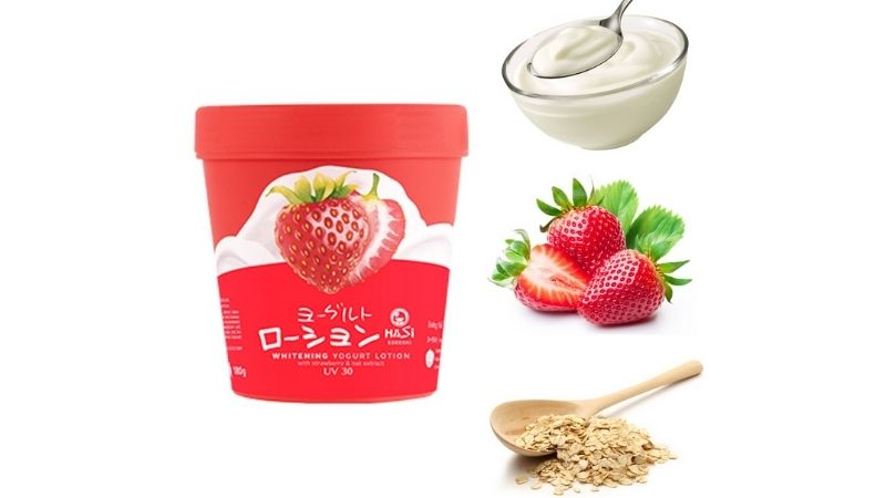 Các chị em có thể tham khảo sử dụngWhitening Yogurt Lotion With Strawberry & Oat Extract
