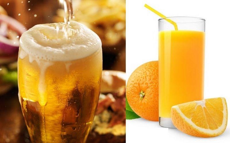 Kết hợp bia với nước cam đem lại hiệu quả cao